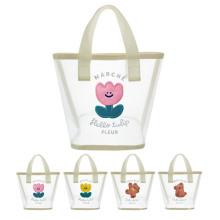 Transparent Bear Flower Mesh Handbag Girls Summer Beach Travel Storage Bag