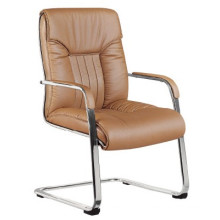High Density Leather Sled Base Brown Conference Office Chair (FOHC-16#)