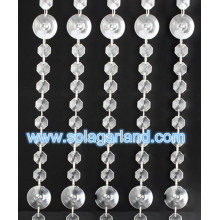 Acrylic Crystal Bead Strand Curtain With Silver Ring Outdoor Christmas Party Decorations