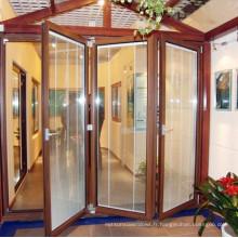 Porte pliante en aluminium avec décoration en verre