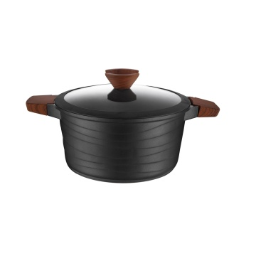 Die-Cast Non-stick Aluminium Casserole With Tail Glass