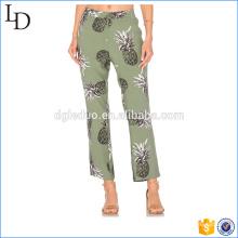 Impressão de alta qualidade mulheres calças de linho soltas calças largas design