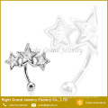 Customized Size 316L Surgical Steel Triple Star Crystal Eyebrow Ring