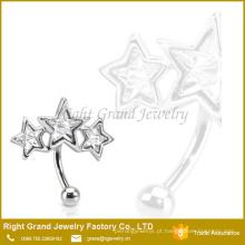 Anel de sobrancelha de cristal personalizado da estrela tripla de aço cirúrgica do tamanho 316L