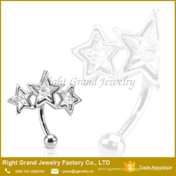 Подгонянный Размер 316L Хирургическая сталь тройной звезды Кристалл бровь кольцо