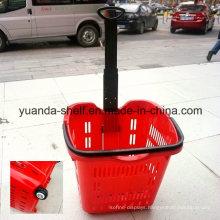Hot Selling Supermarket Handle Rolling Shopping Plastic Basket