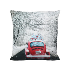 Red car with present cushion