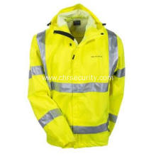 Unisex High Visibility Waterproof Hooded Rain Jacket