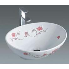 Salle de bain Vasque en céramique avec fleurs (7007F)