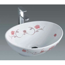 Bathroom Ceramic Washbasin with Flowers (7007F)