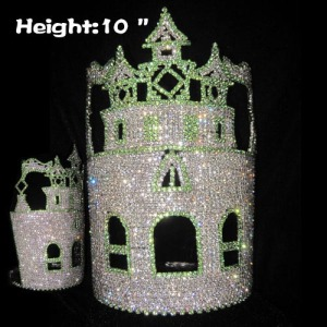 10in Height Crystal Castle Pageant Crowns