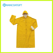 Yellow PVC/Polyester Men′s Raincoat Rpp-049