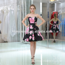 fashion model digital printing sleeveless women dress strapless large hem design lady dress