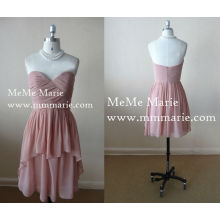 Sweetheart Hi Lo Mini Dress Vestido de festa nua Vestido de dama de honra com Open Back BYE-14037