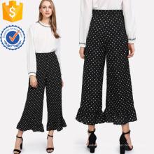 Allover Polka Dot Plissado Hem Calças Fabricação Atacado Moda Feminina Vestuário (TA3093P)
