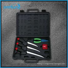 5 couteaux de pêche ensemble d'outils de pêche avec couteau de remplissage, pilier et aiguiser