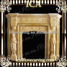 Yellow marble statuary marble fireplace