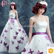 White Appliqued Butterfly Alibaba Shenzhen Evening Dress
