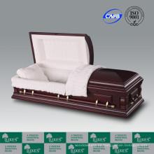 Alta calidad por mayor chapa americana ataúd ataúd para el entierro
