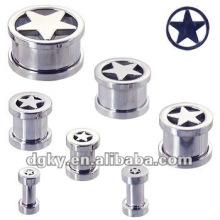 Star orelha plug ear taper jóias parafuso piercing túnel