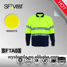 Vestuário de alta visibilidade 3m fita reflexiva de alta visibilidade botão camisas fresco seco poli-algodão tecido AS / NZS 1906.4: 2010