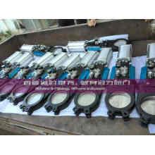 Vanne de porte à couteaux pneumatique avec cylindre pour traitement de l'eau