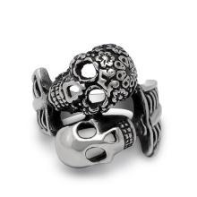 Gothin панк двойной череп мужчины кольцо 316L Нержавеющая сталь