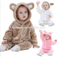 2018 популярные милые животные ткани,детские мальчики девочки Медведь Утолщаются хлопка onesie пижамы ползунки новорожденных зимняя одежда