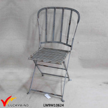 Rustic Vintage Fold Metal Chair with Back