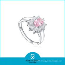 Dernières Fashion Pink CZ Silver Ring for Wedding (R-0170)