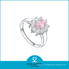 Latest Fashion Pink CZ Silver Ring for Wedding (R-0170)