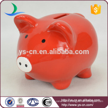 YScb0011-01 Wholesale red piggy bank ceramic