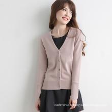chandail tricoté de col de chemise de femmes de cachemire de prix bon marché pour la femme