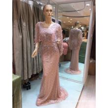 2017 ärmelloser modischer Entwurf sehen durch Tulle-Ansatz-wulstiges elegantes Meerjungfrau-Abend-Kleid