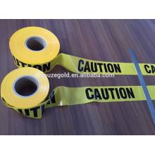 schwarzes und gelbes Druckband ohne Kleber / PE Warnband