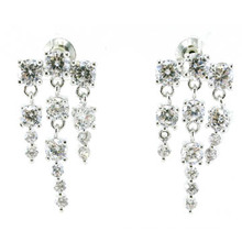 Alta calidad y joyería de moda 3A CZ 925 pendiente de plata (E6518)