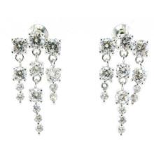Top qualidade e moda jóias 3A CZ 925 brinco de prata (E6518)