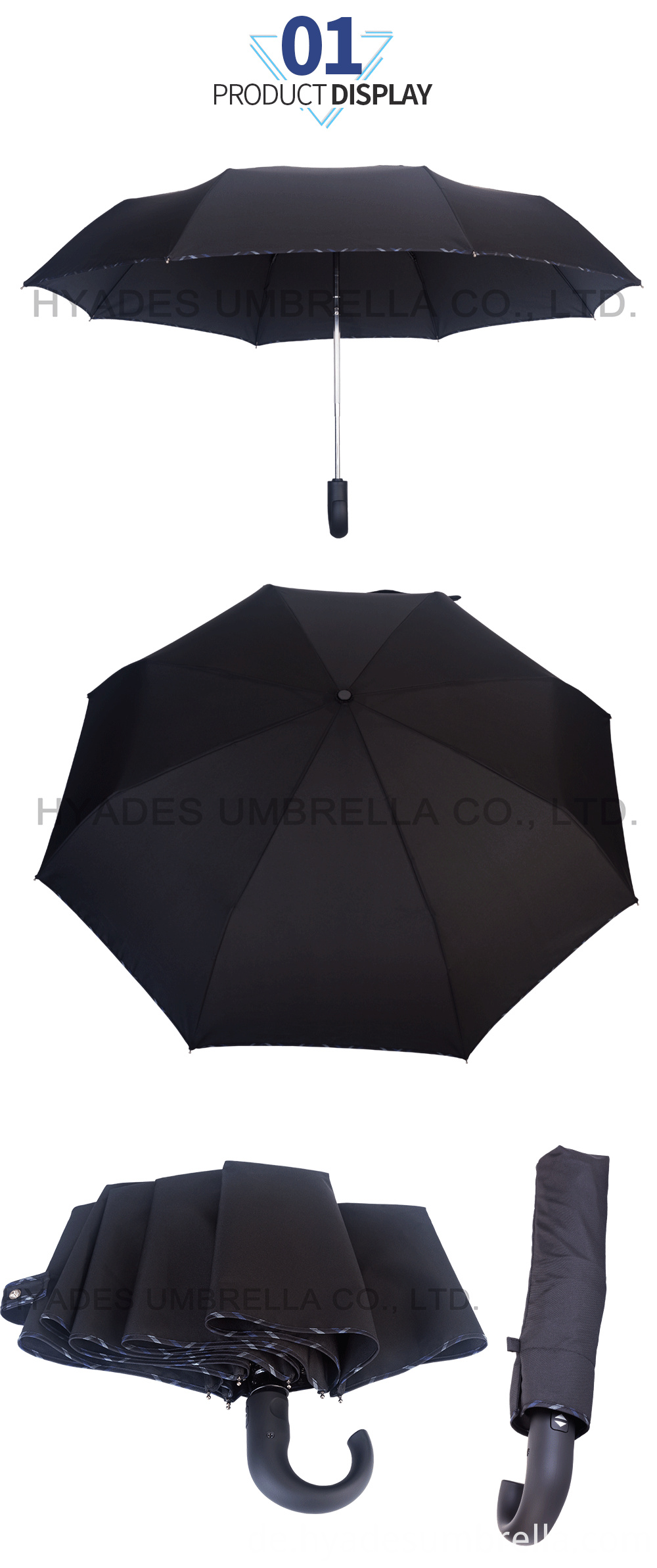 Mens Folding Umbrella Black Color