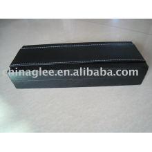 couro exclusivo com caixa de caneta de plástico