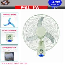 Ventilador oscilante de pared de 16 pulgadas 3 hojas de PP y 3 opciones de velocidad