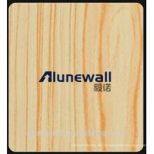 Alucobond incombustible exterior de madera Panel compuesto de aluminio