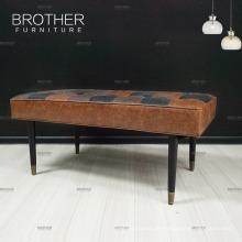 Hochwertiger Vintage Birkenholz Fuß Lederbank Spezieller Couch Hocker