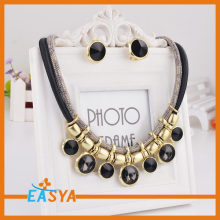 18K Gold Plated Jewelry Set Fashion Jewelry Black Stone Necklace Set