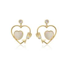 E-719 xuping fashion 14k gold color beauty heart shape design synthetic zircon women's drop earrings