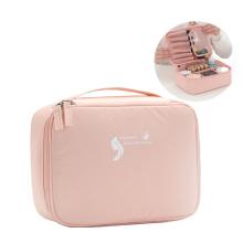Factory Hot Sale Portable Travel Cosmetic Bag  Women Makeup Brush Storage  Bag Pink Make Up Organizer For Cosmetics