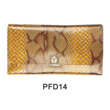 Golden print snake makeup pouch with button