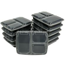 Almacenamiento de alimentos Contenedores de preparación de alimentos Microondas Contenedor de alimentos de 3 compartimentos Caja de almuerzo de Bento A prueba de fugas