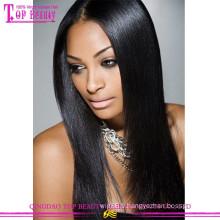 En gros Naturel Réel Droite 100% Humain Remy Cheveux Sans Colle brésilienne pas cher Full Lace Wig
