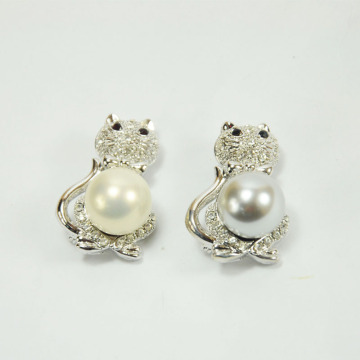 White Pearl Stud Earrings with Owl