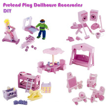 Pink Girls Wooden DIY Dollhouse Mini Furniture